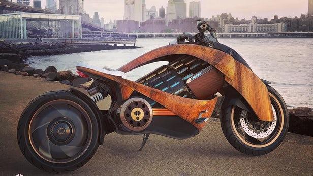 Newron rivela la moto elettrica in legno