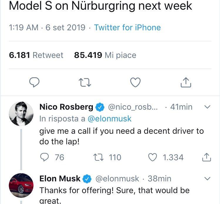 Tesla Model S al Nürburgring per battere Taycan